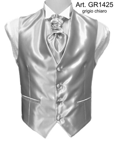 Grigio Gilet Uomo Misura Cravatta Su Sartoriale O Fantasia Cerimonia Plastron wBqPRXB