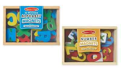 Melissa and Doug 2 x Wooden Magnet Sets -Magnetic Alphabet 52 Letters & Numbers