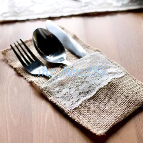 50//100x Hessian Rustic Burlap Lace Cutlery Holder Pouch Bag Wedding Table Decor