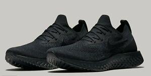 c5bb00a424b6 Nike Epic React Flyknit Triple Black AQ0067-003 Running Shoes Men s ...