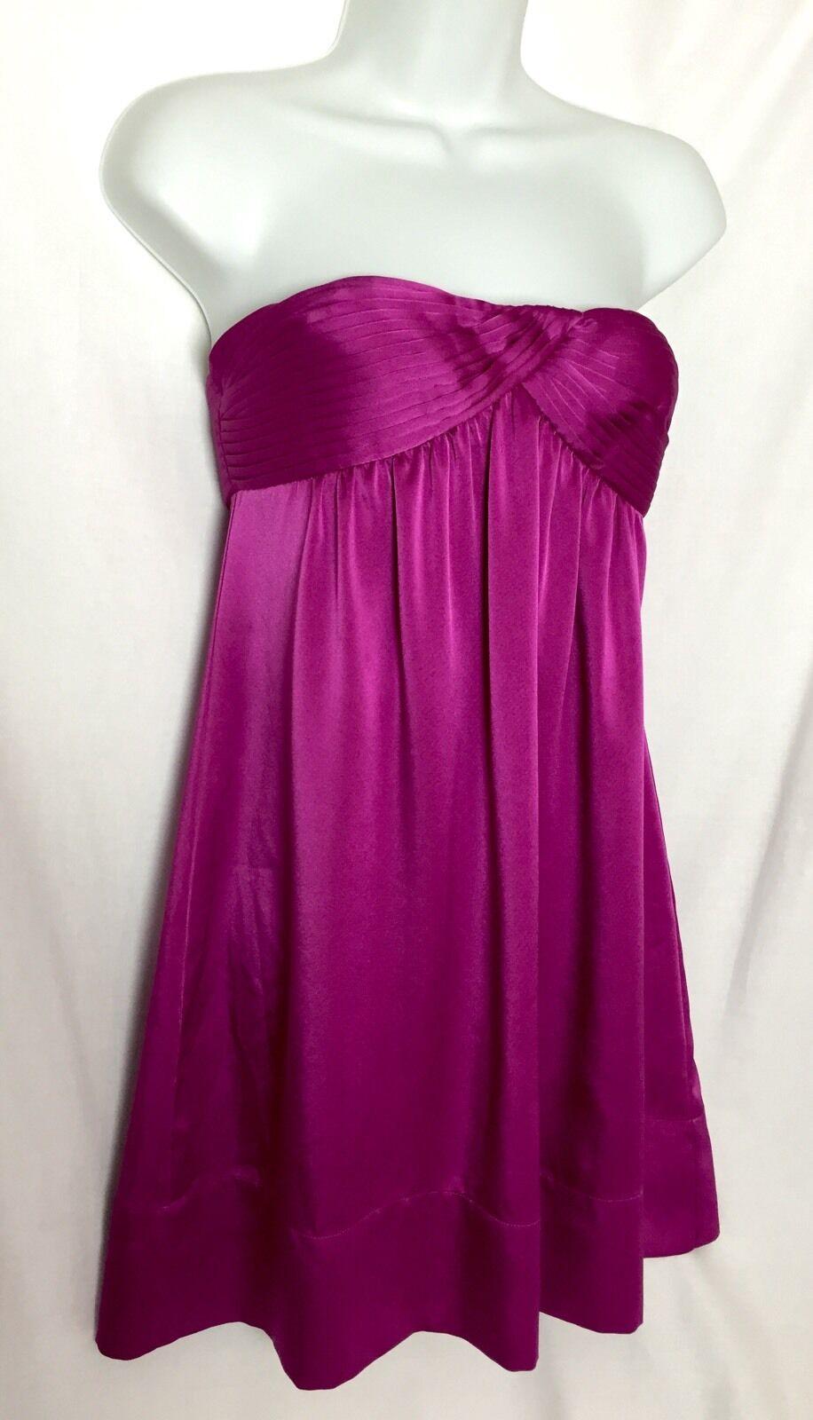 NWOT BCBG MAX AZRIA Magenta Empire Waist Strapless Mini Dress Size 2