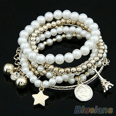 Fashion Womens Unique Jewelry Gold Metal Pearl Multilayer Pendant Bracelet BD4U
