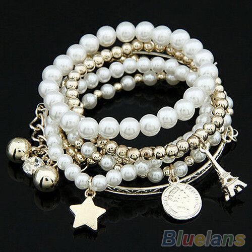 Fashion Womens Unique Jewelry Gold Metal Pearl Multilayer Pendant Bracelet BD4U