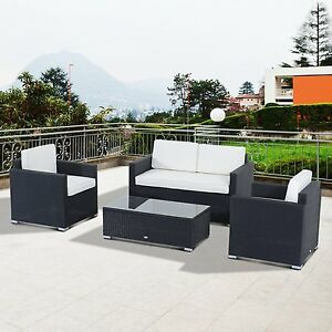 Outsunny 4 PC Rattan Sofa Set Patio Wicker Furniture Garden Sectional w/Cushion