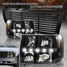 For 2000-2006 Chevrolet Tahoe LED DRL Conversion Black Headlights + Black Grille