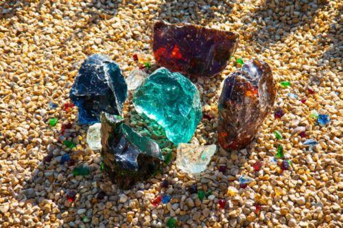 Gartendekoration Glasbrocken Glasstein bernstein Glass stone amber 40-120