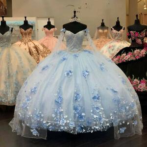 Light Blue Long Quinceanera Dress 3D Appliqued Off Shoulder Sweet 16 Ball Gown