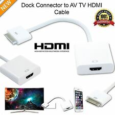 30 PIN DOCK CONNECTOR TO HDMI TV ADAPTER 1080P CABLE LEAD FOR IPHONE 4S IPAD2 3