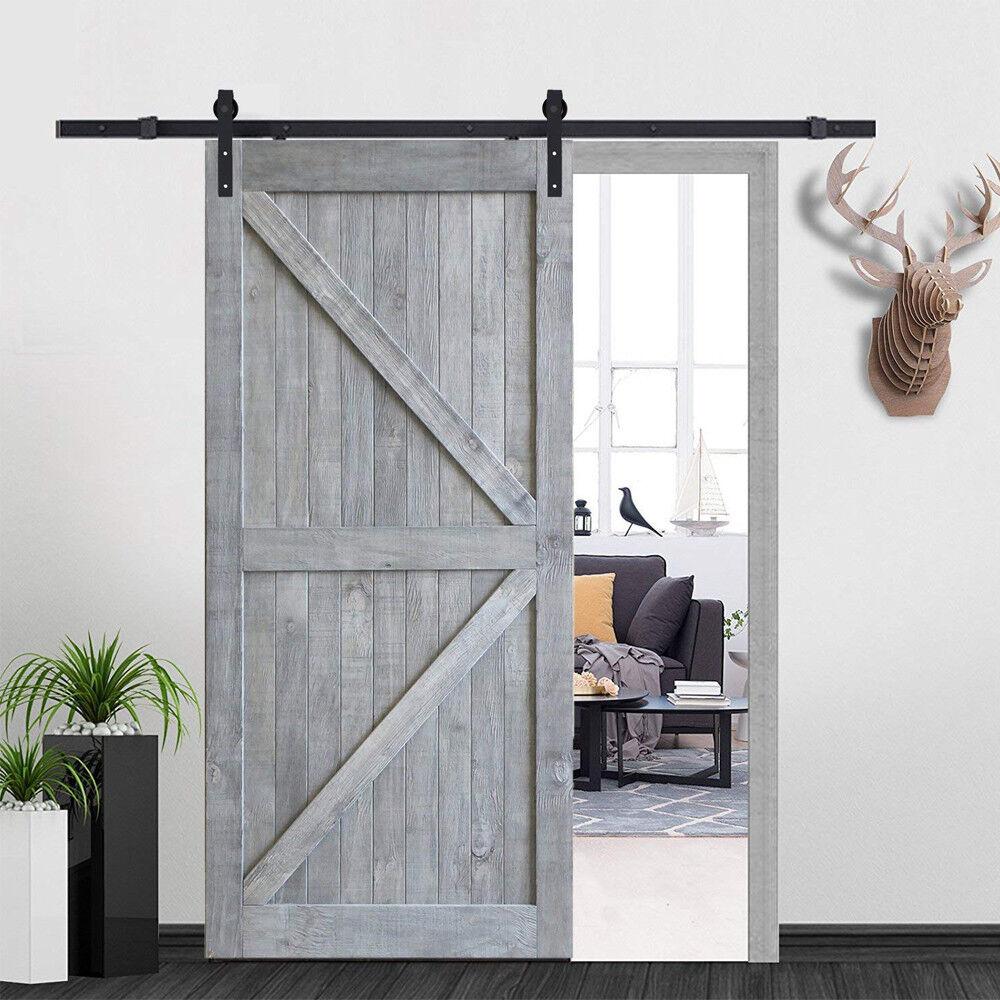 6.6ft Black Sliding Door Hardware Kit+Solid Barn Wooden Door Plank DIY  Assembled