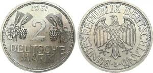 2 DM Currency Coin 1951 D Ears of Corn and Grapes XF, Small Korrosionsspur 45514
