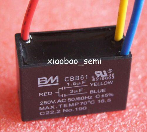UL Cbb61 Ceiling Fan Capacitor 1.5uf 3uf 3 Wire BM | eBay
