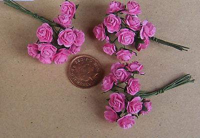 1:12 Scala 3 Mazzi (30 Fiori) Di Rosa Carta Rose Tumdee Casa Bambole D