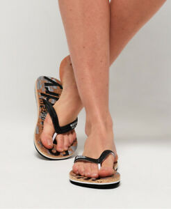 Superdry Womens Printed Cork Flip Flops