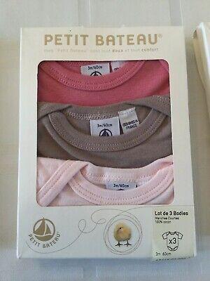 PETIT BATEAU Girl/'s Pink Short Sleeve Collared Bodysuit Sz 36 Months NEW $36