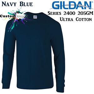 Gildan-Long-Sleeve-T-SHIRT-Navy-Blue-Basic-tee-S-5XL-Men-039-s-Ultra-Cotton