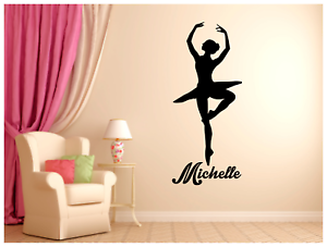 """Ballerina with name Vinyl Wall Sticker Decal 22/""""x51/"""" Choice Colors"""