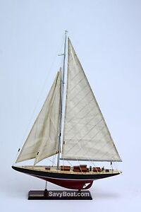 "America's Cup Endeavor 19"" Handmade Wooden Sailboat Model"