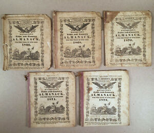 Hagerstown MD: Lot of 5 Editions J. GRUBER'S TOWN AND COUNTRY ALMANACK 1866–1872