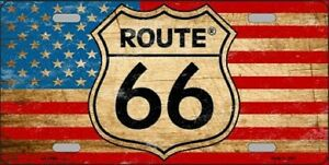 Route 66 American Flag Background Metal Novelty License