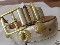 NEW COACH METALLIC ALL GOLD AROUND TURNLOCK EXTRA SMALL LEATHER DOG COLLAR XS