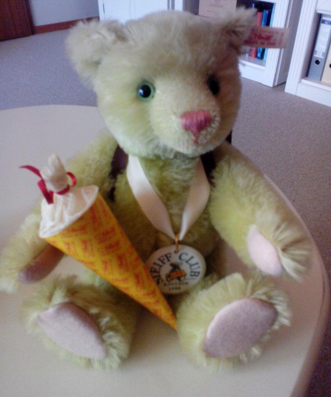 STEIFF TEDDY Schulanfänger Bär,30cm, grünes Mohair ,mit Zertifikat und OVP