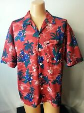 Men OTB On The Brink Red Hawaiian Shirt Top Floral Blue Palm Trees Net Lining L