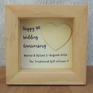 4th Wedding Anniversary Linen Gift Personalised Script Frame