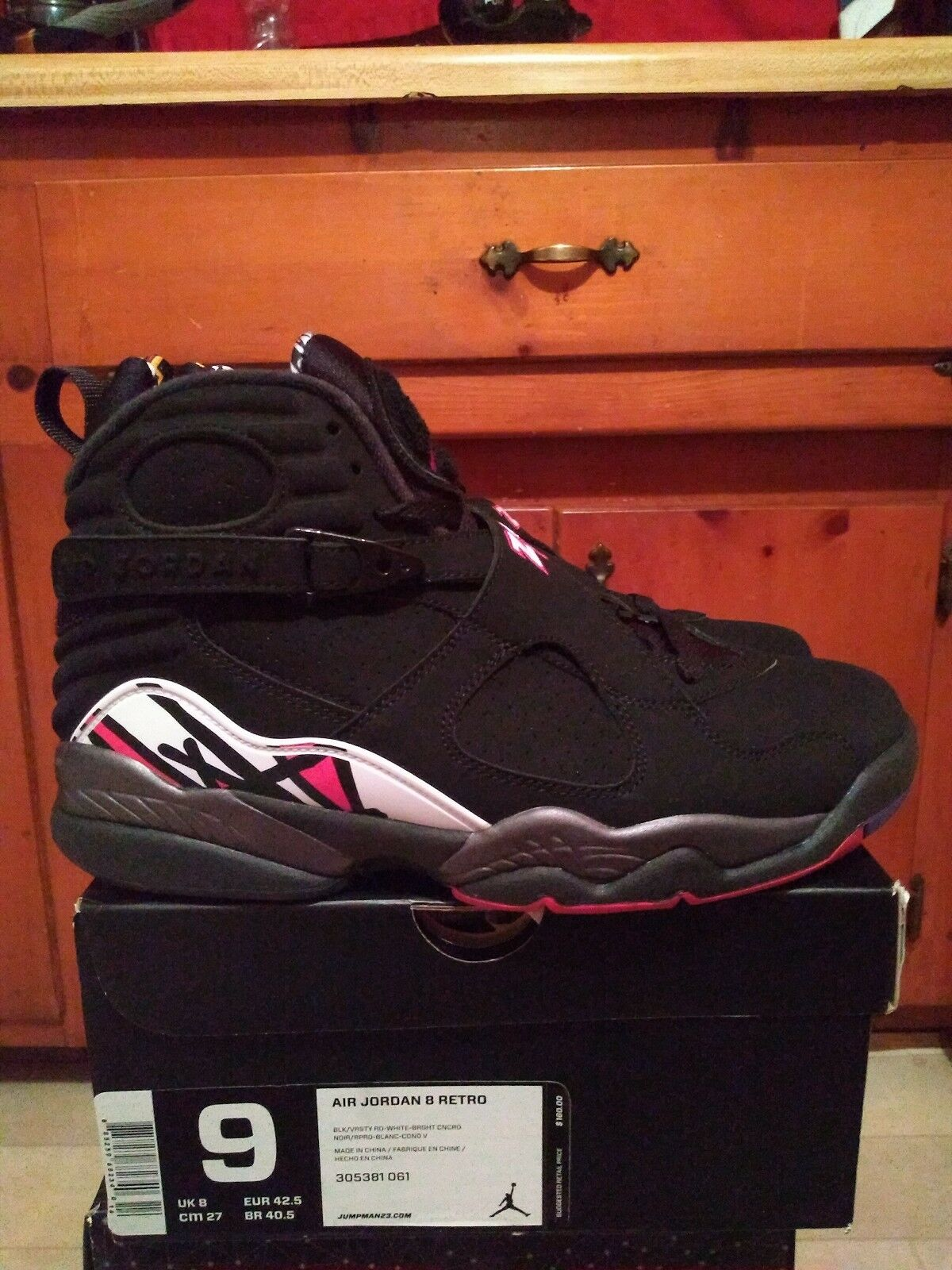 Jordan 8 Playoff Black Red Bugs Size 9 DS With Receipt