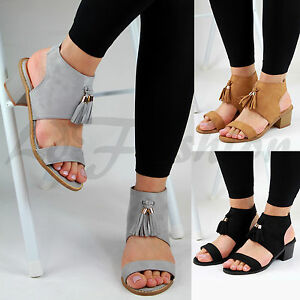 5e43b93f64b New Womens Mid Block Heel Sandals Ankle Strap Peep Toe Tassel Summer ...