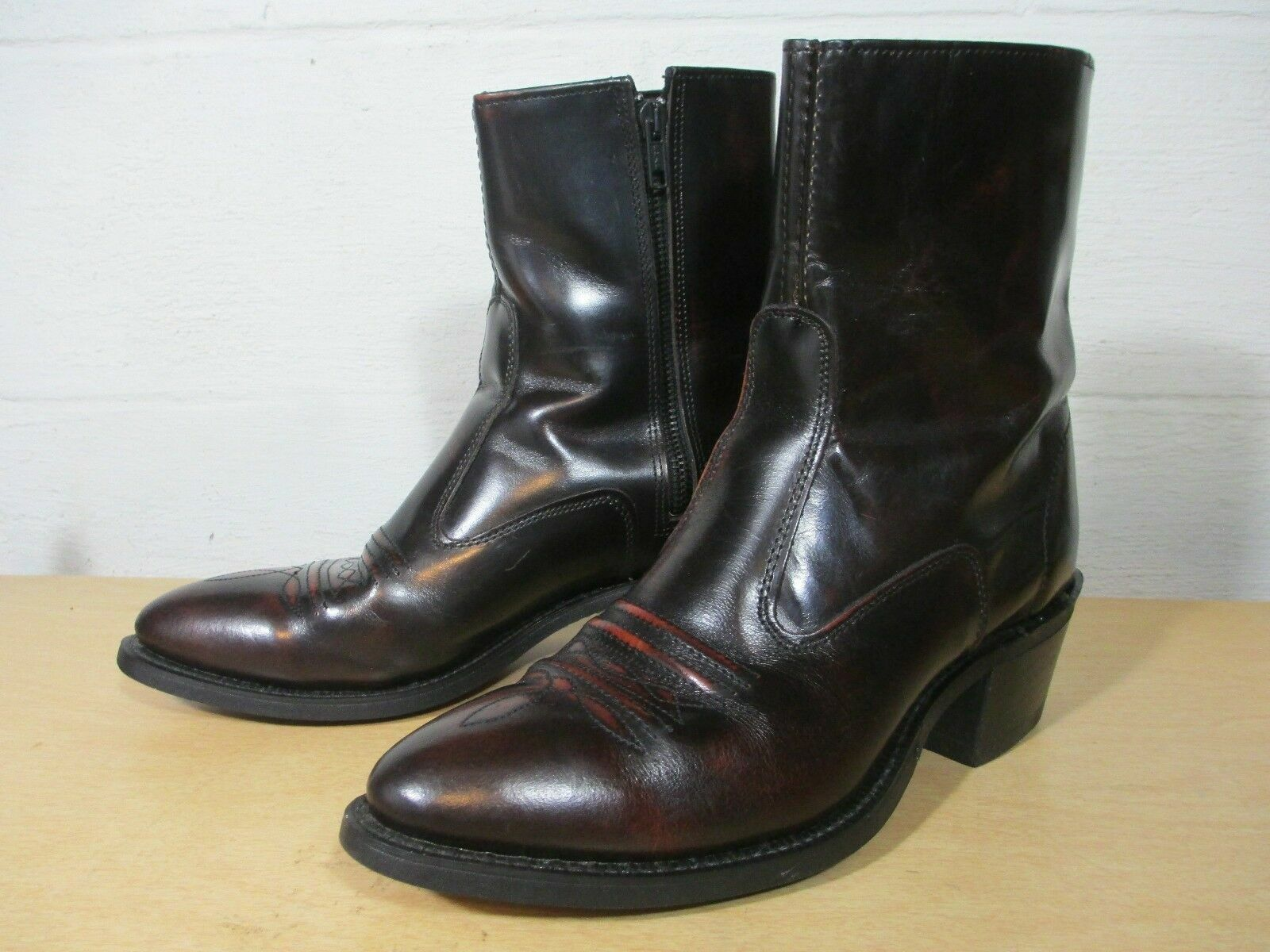 Texas All American Made Brown Leather Body Rubber Sole Women's 8 D Cowgirl Boots