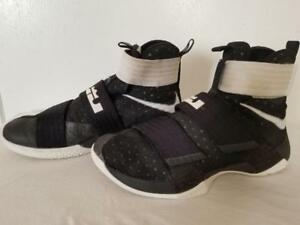 aa750d393ed Nike LeBron Soldier 10 Black Metallic Silver-White 844380-001 Mens ...