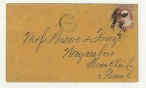 1858-Baltimore-MD-to-Franklin-Co-PA-034-Held-for-Postage-034-marking-Scott-25-w-letter
