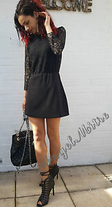 ZARA-NEW-BLACK-3-4-LACE-SLEEVE-CONTRAST-JUMPSUIT-PLAYSUIT-SIZE-S-8