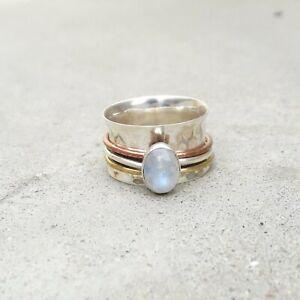 Rainbowmoonstone-925-Sterling-Silver-Spinner-Ring-Meditation-statement-Ring-114