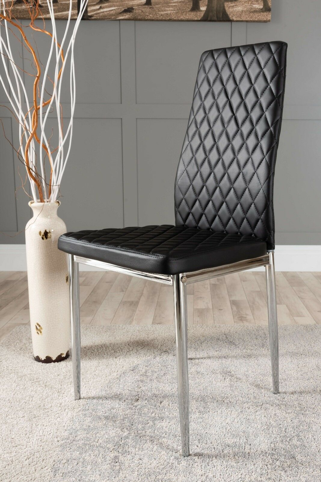 Details About 4x Milan Chrome Hatched Black Faux Leather Dining Chairs Metal Legs Foam