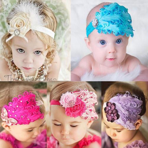 1 Pcs Serre-Tête Bandeaux Cheveux Bébé-enfant Fille Plumes Strass Lace Fleur