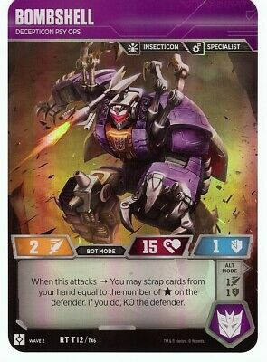 Rare RT T12 MINT! Transformers TCG: Wave 2 BOMBSHELL Decepticon Psy Ops