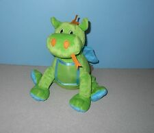 """9"""" Picture Tummy Green Gragon with Blue Wings Bean Stuffed Plush Animal"""