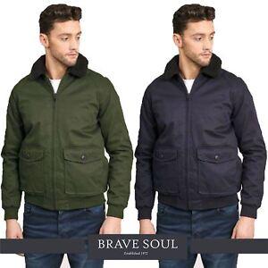 34b2b1d42 Details about Mens Brave Soul Vintage Sherpa Borg Fleece Collar Bonded  Bomber Jacket Coat