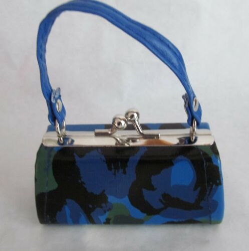 "Blue Purse with Abstract Design  Fits 18/"" American Girl Dolls"