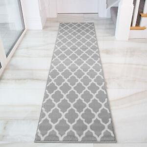 Grey Trellis Moroccan Carpet Modern Hall Rugs Long Narrow