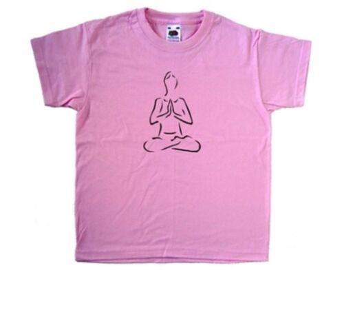 Yoga Lotus Pose Pink Kids T-Shirt