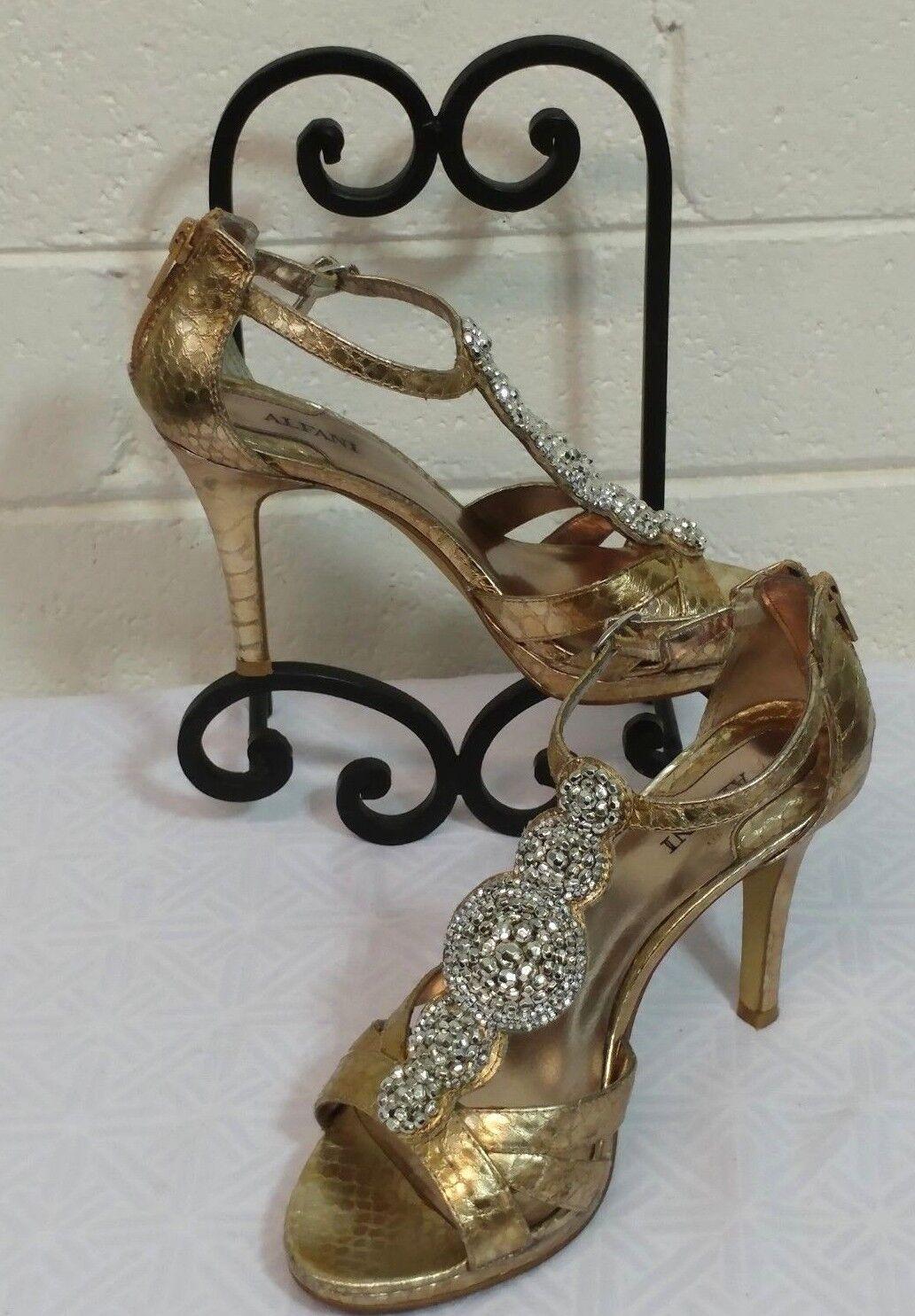 ALFANI SANDALS & Size 7 Metallic Gold & SANDALS silver rhinestone Stiletto Open toe (WOIG) df436a
