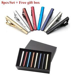 8pc-set-Gentleman-Silver-Metal-Simple-Practical-Plain-Necktie-Tie-Clip-Bar-Clasp