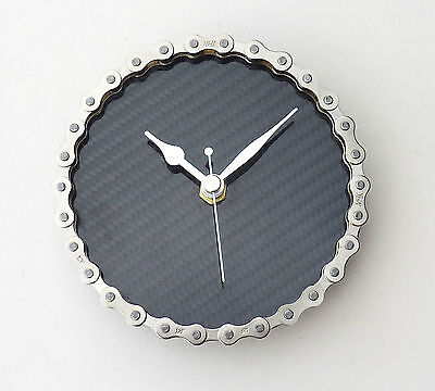 Carbon fibre bike chain wall / desk clock - Cycling mans office accessory gift