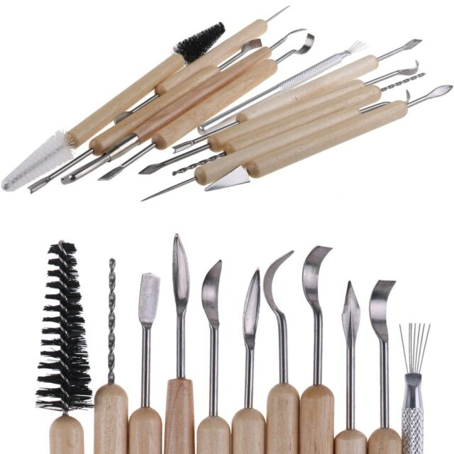 11pcs Set Wood Handle Wax Carving Pottery Tools Polymer Clay Modeling Sculpting