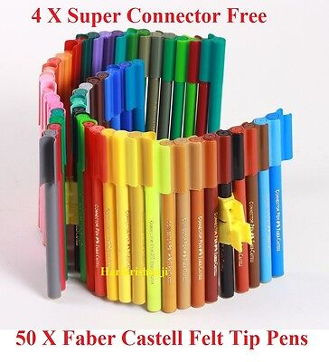 Multicoloured Faber-Castell 100 Felt-Tip Pens Free 8 Super Connector