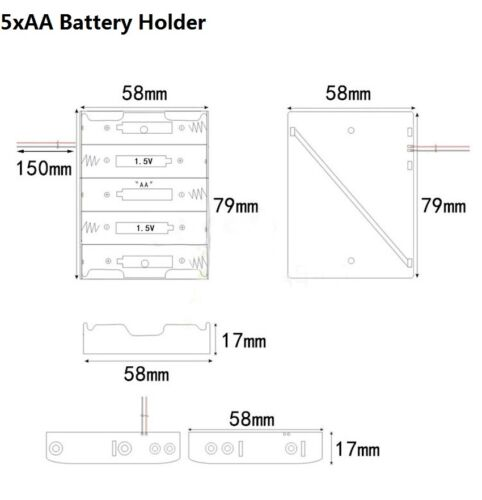 1 2 3 4 5 6 10 X Aa Batterie Support Batteries Box Case Open Storage avec fil AA