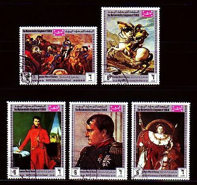 Briefmarken Streng Yemen 1969 Used C.t.o Mi.854/58 A Napoleon Schlacht Battle War Krieg Jemen