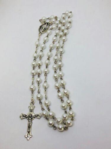 Pure white pearl rosary beads High Quality Handmade by Niki Catholic gift